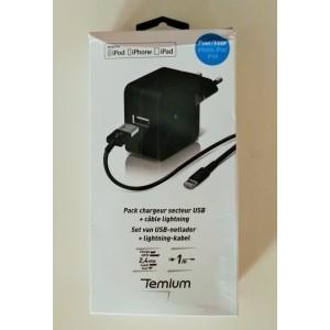 Cargador TEMIUM USB con cable para iPHONE Potencia: 2.4 A